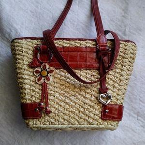 Brighton Handbag Wicker Straw Basket Red Trim